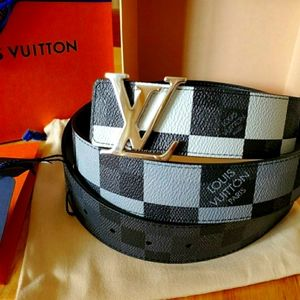 Louis Vuitton Men Reversible Belt Damier Black